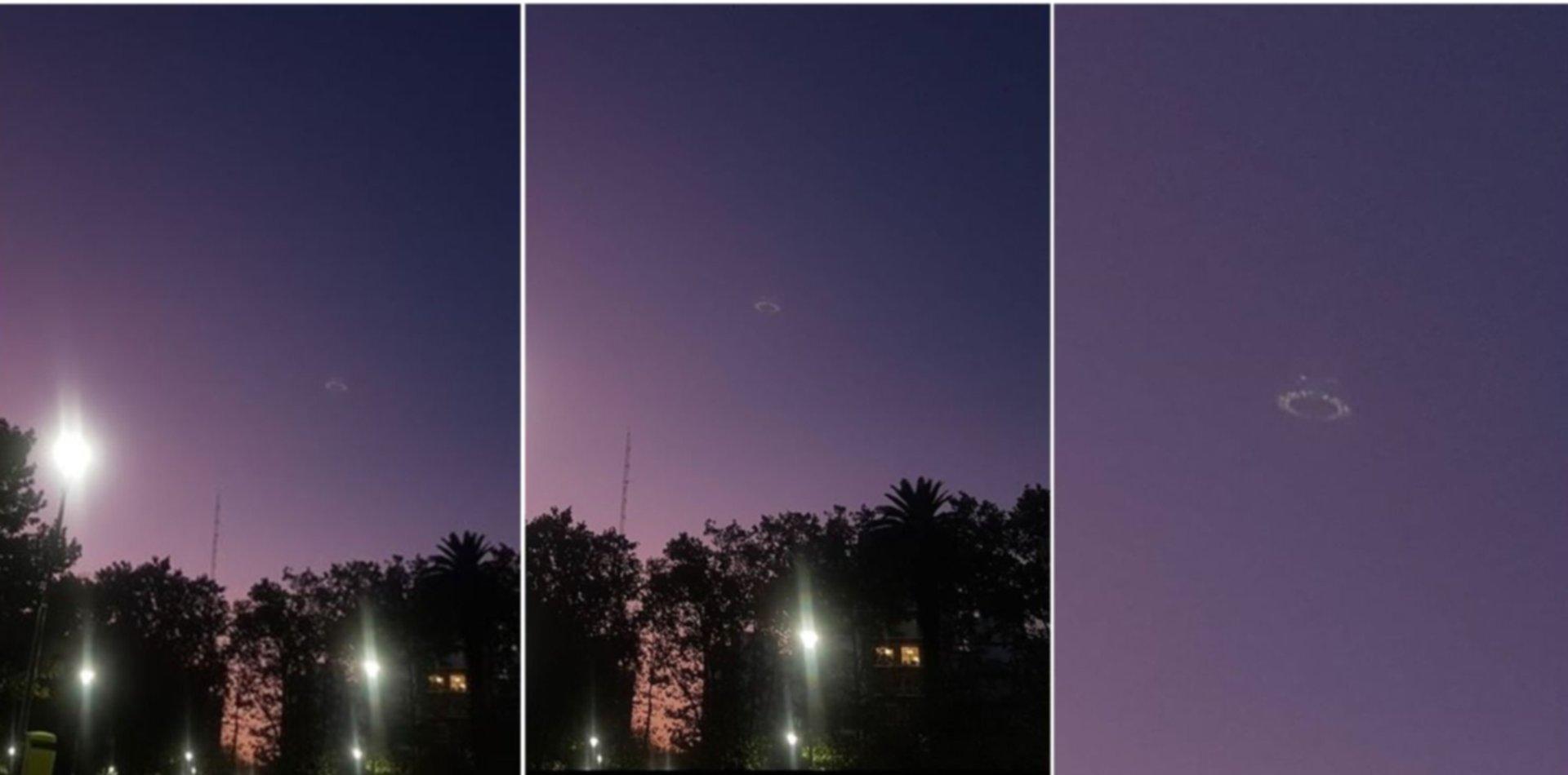 Tomaba un helado en plaza Malvinas, vio algo en el cielo y le sacó fotos a ¿un OVNI?