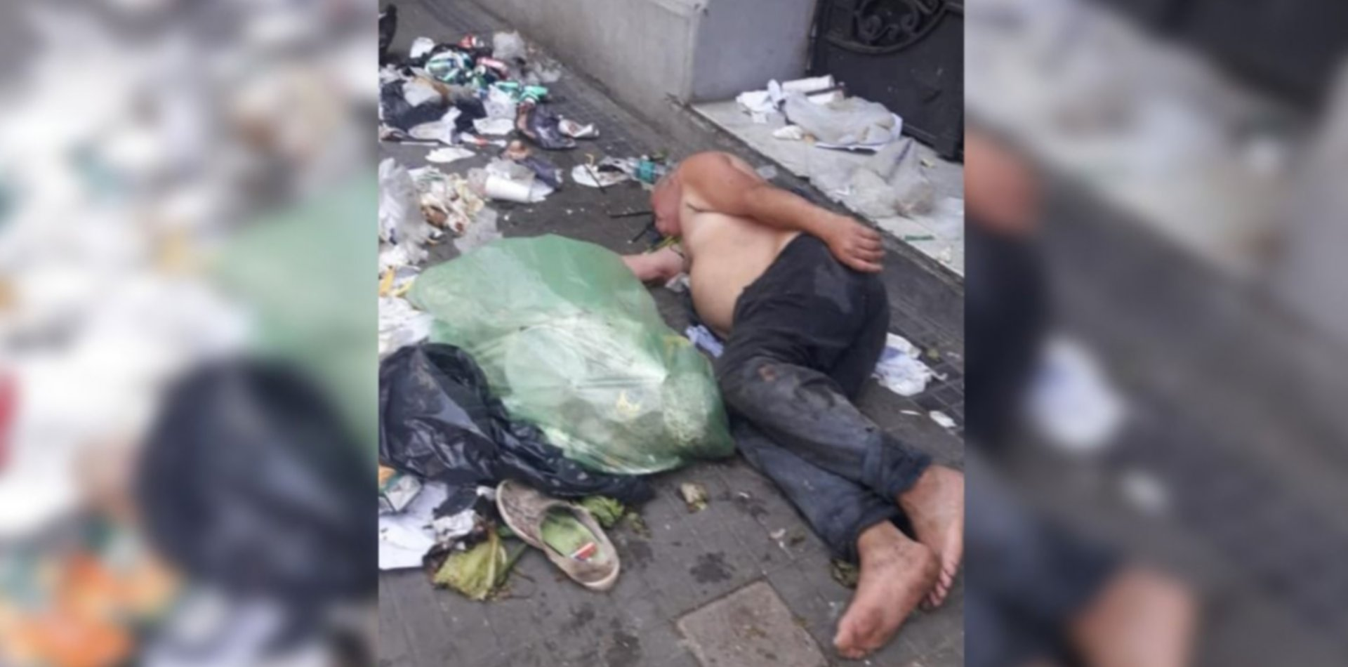 La foto que más duele: vio a un platense durmiendo entre la basura y pide ayuda