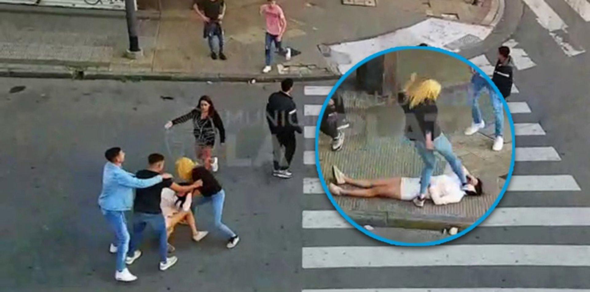 Brutal golpiza a una chica que quedó noqueada en plena diagonal 80