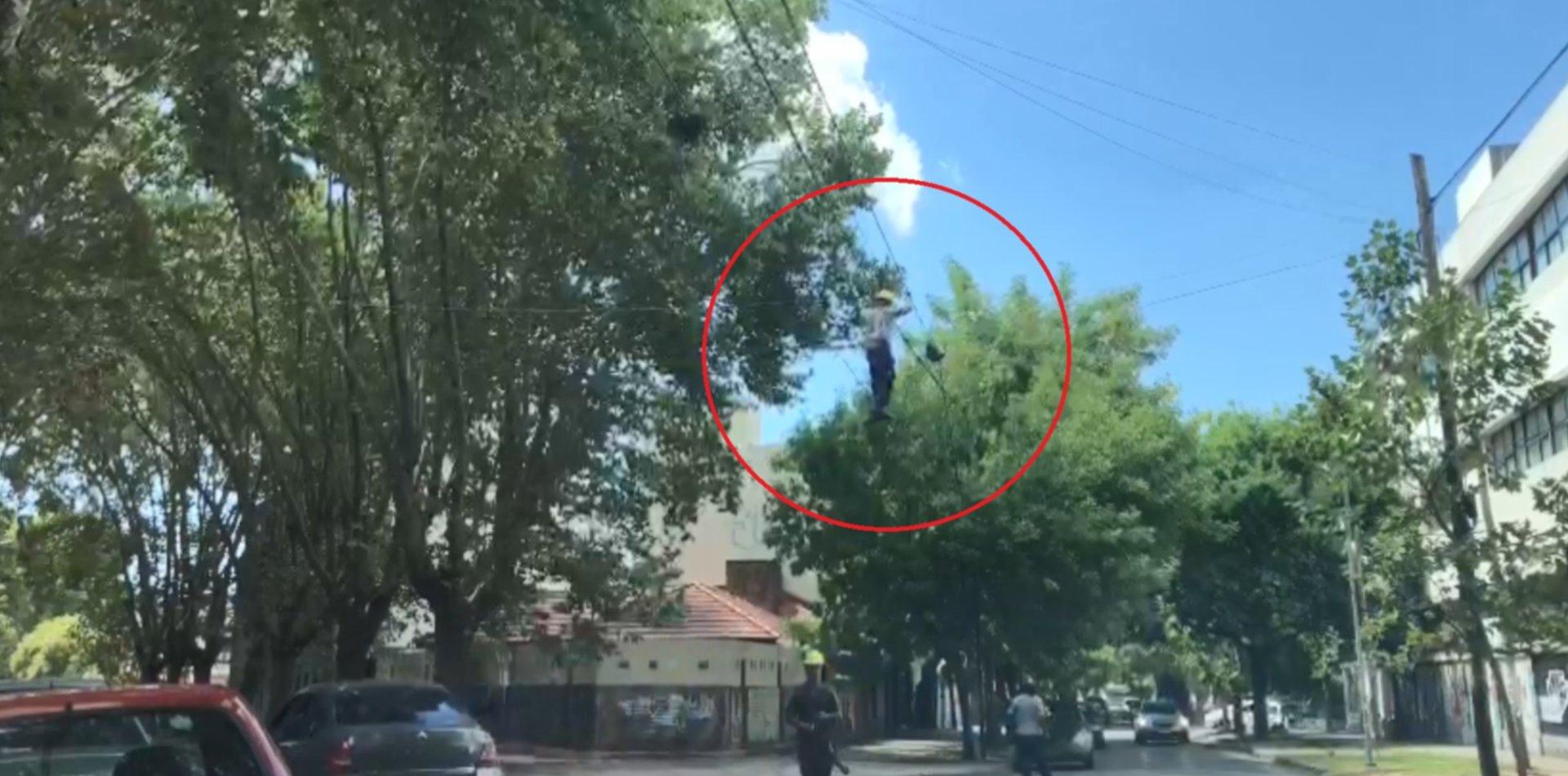 VIDEO: Un operario cruzó de una esquina a otra haciendo equilibrio sobre un cable