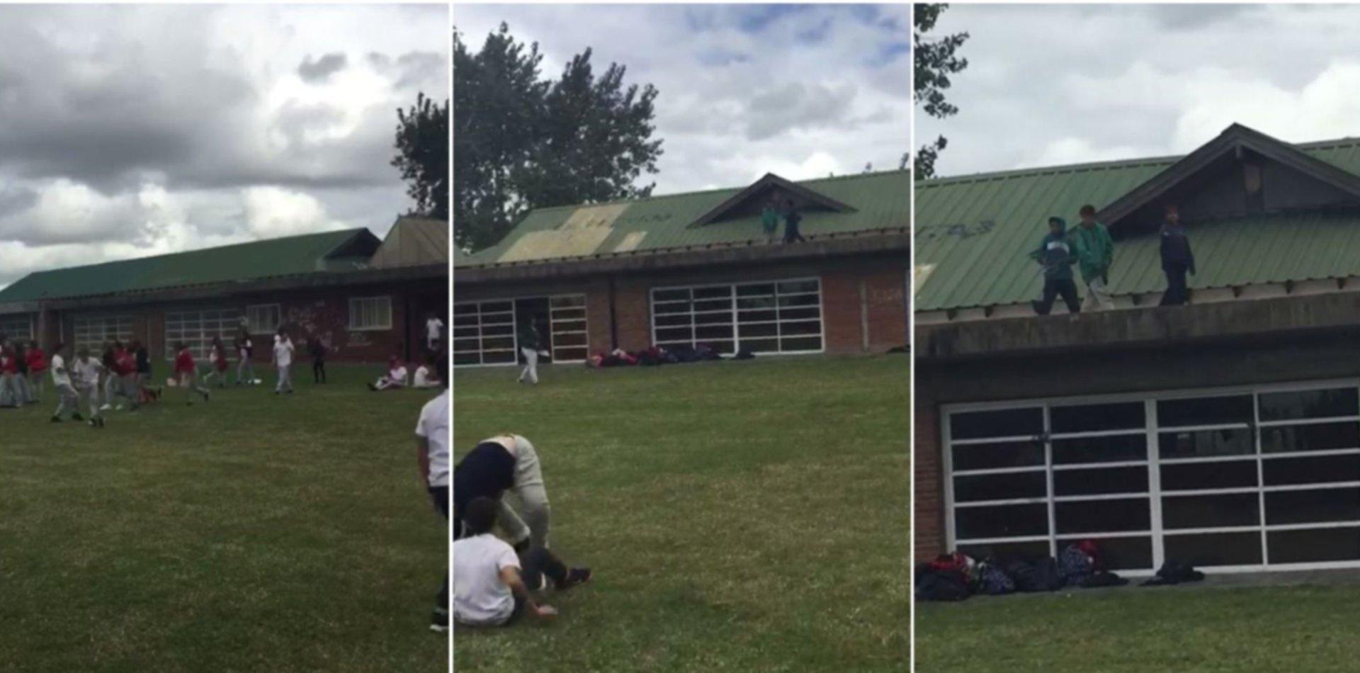 VIDEO: Se metieron en una escuela de Villa Castells y atacaron a piedrazos a los nenes