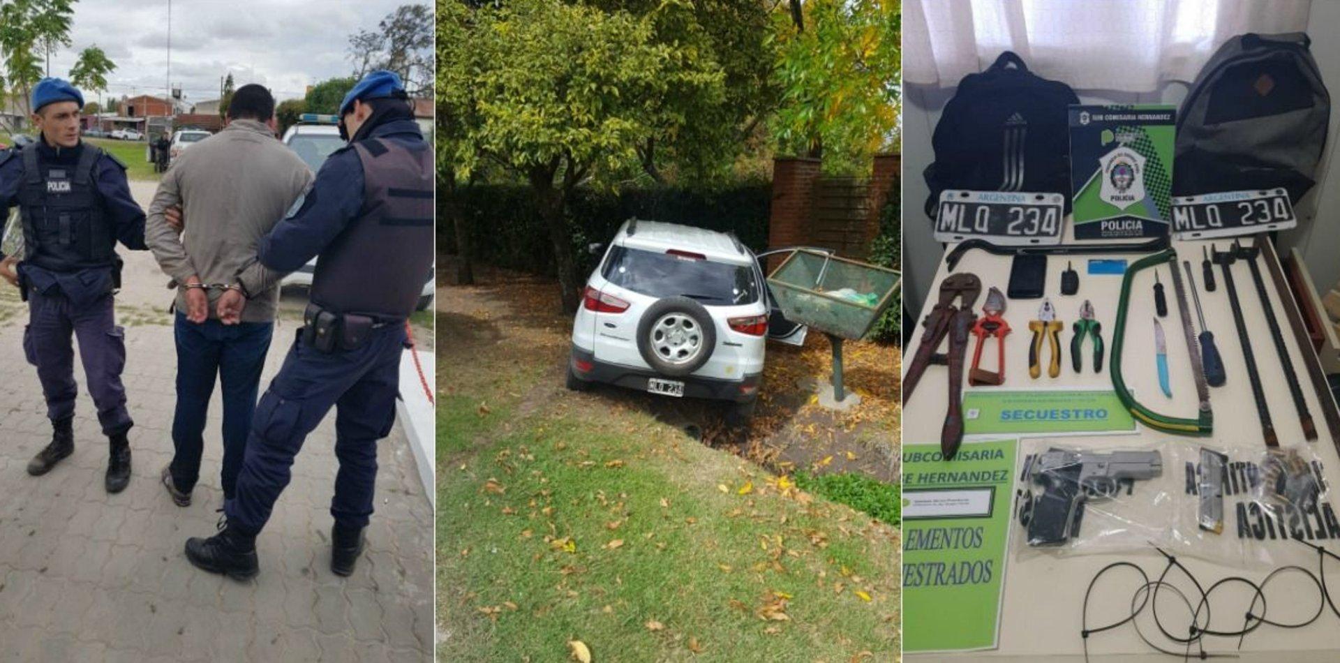 Viajabadel Conurbano a La Plata para robar,chocó tras evitar un control y lo atraparon