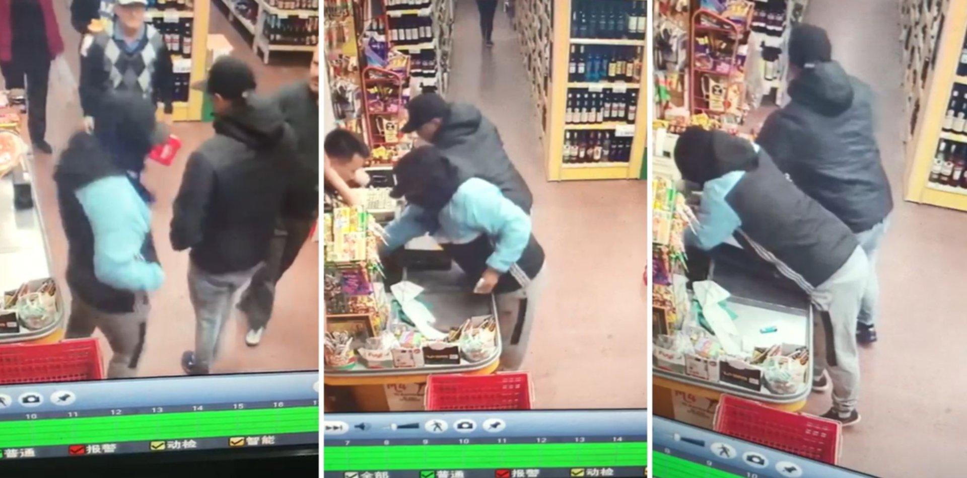 VIDEO: El ataque a punta de pistola en un súper chino de La Plata en 33 segundos