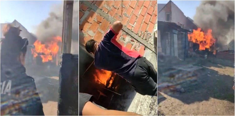 VIDEO: Salvaron a un bebé y un nene que quedaron atrapados en un incendio en Ensenada