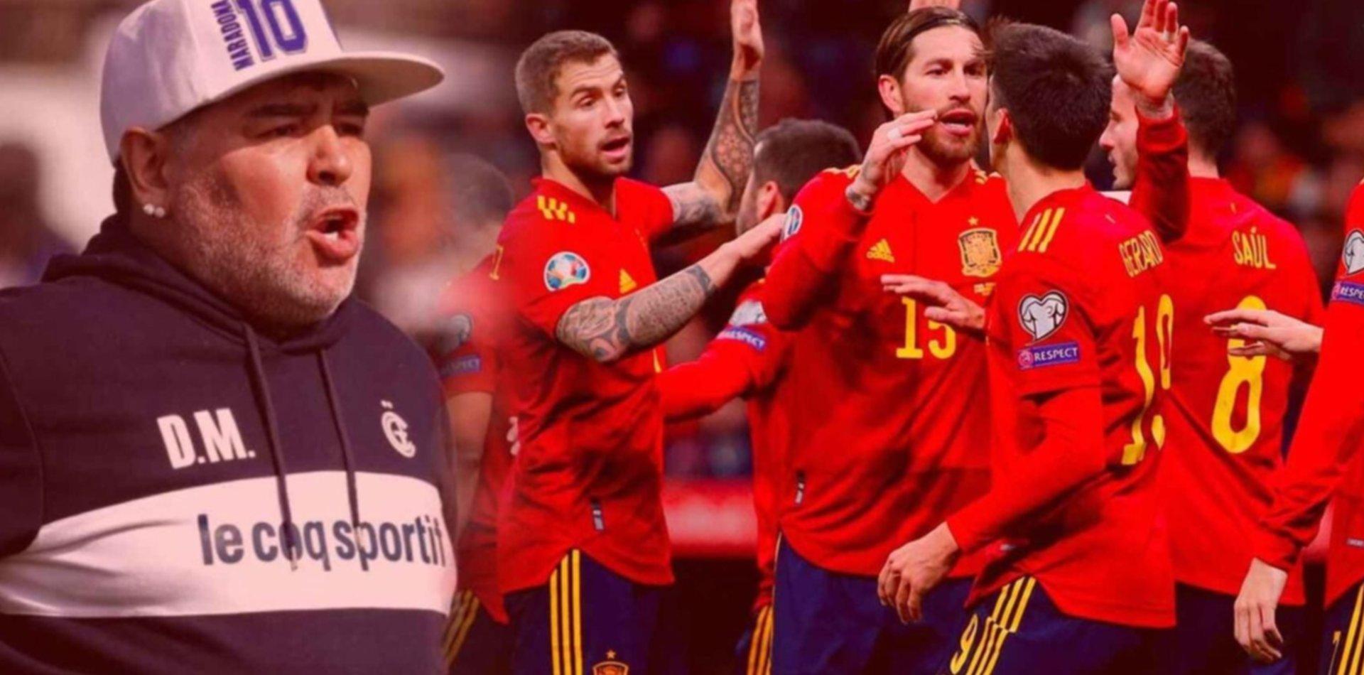 Alerta en Gimnasia: quieren a Diego Maradona como DT de la selección de España