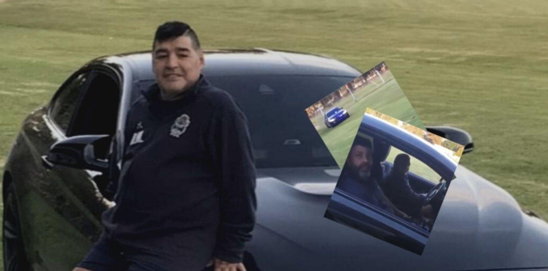 El video de Maradona manejando un lujoso auto con sirena de policía y junto a Bragarnik