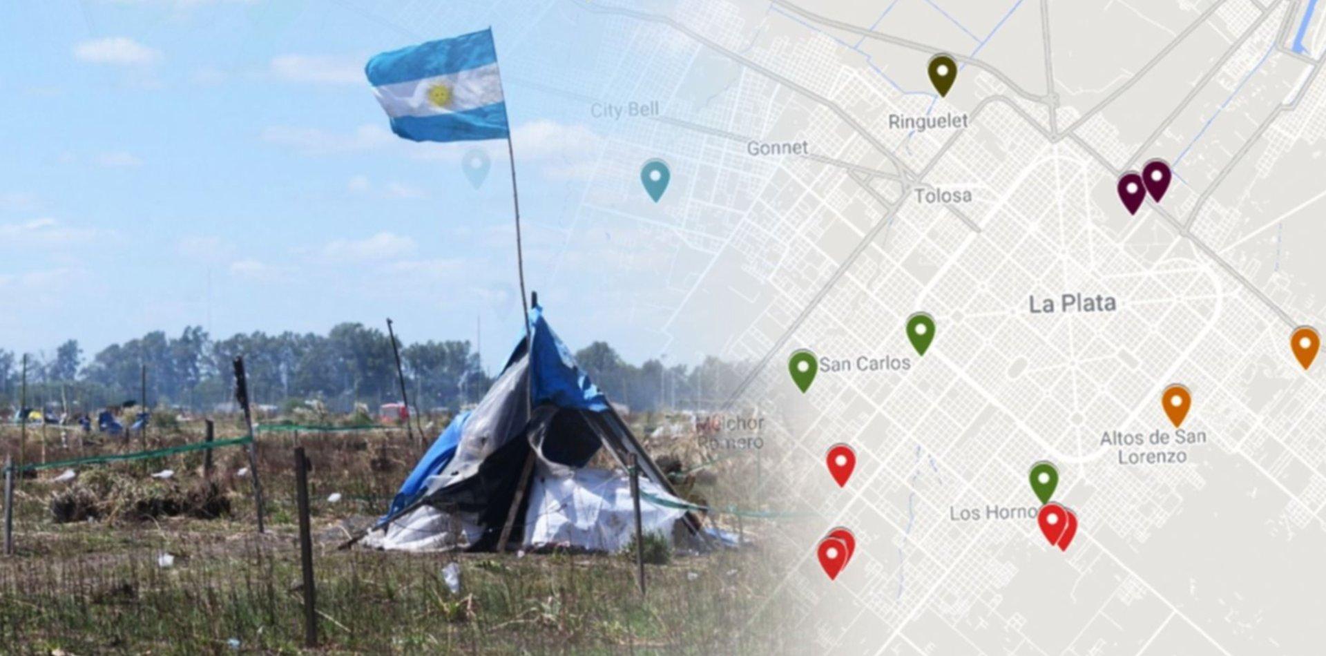 El mapa de la toma de terrenos en lo que va del año en La Plata