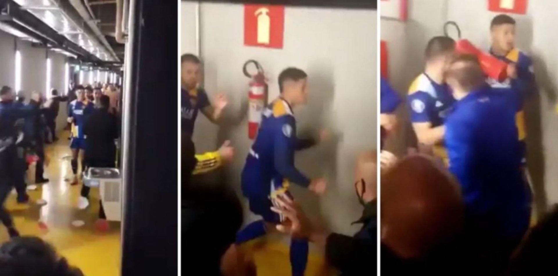 Los increíbles videos de Marcos Rojo a las piñas tras la eliminación de Boca en Brasil