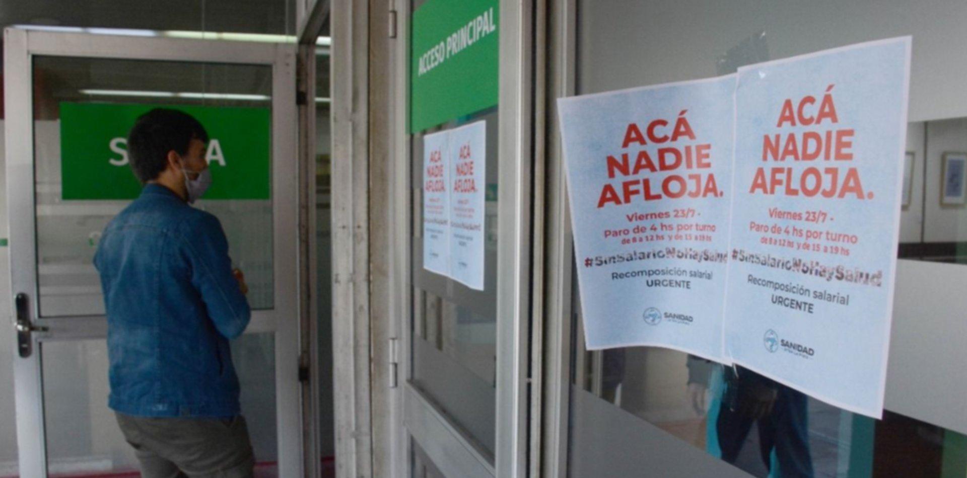 Sin acuerdo, los trabajadores de la salud volverán a parar este sábado