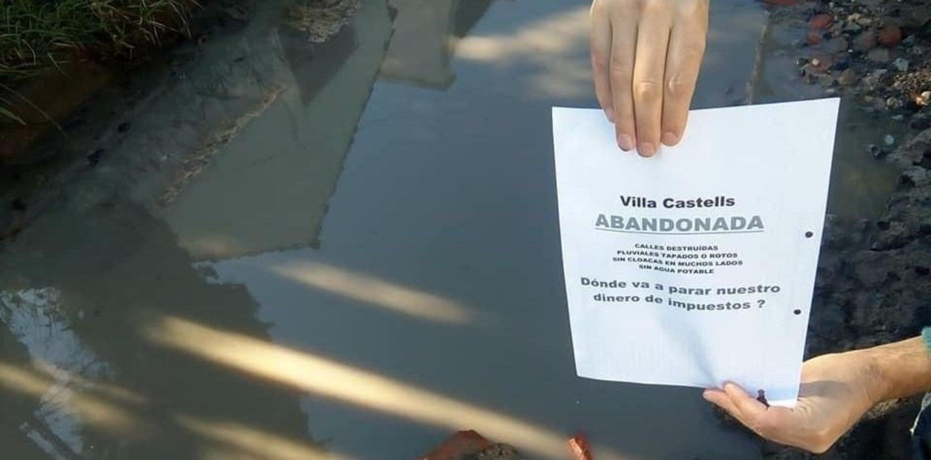 Crisis en Villa Castells: los vecinos salen a la calle para exigir obras al Municipio