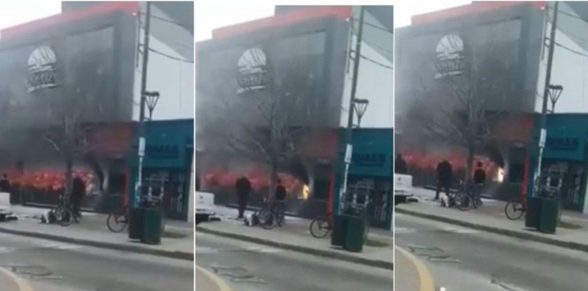 VIDEO: Humo y chispazos, así fue el incendio en el nuevo Mostaza de Los Hornos
