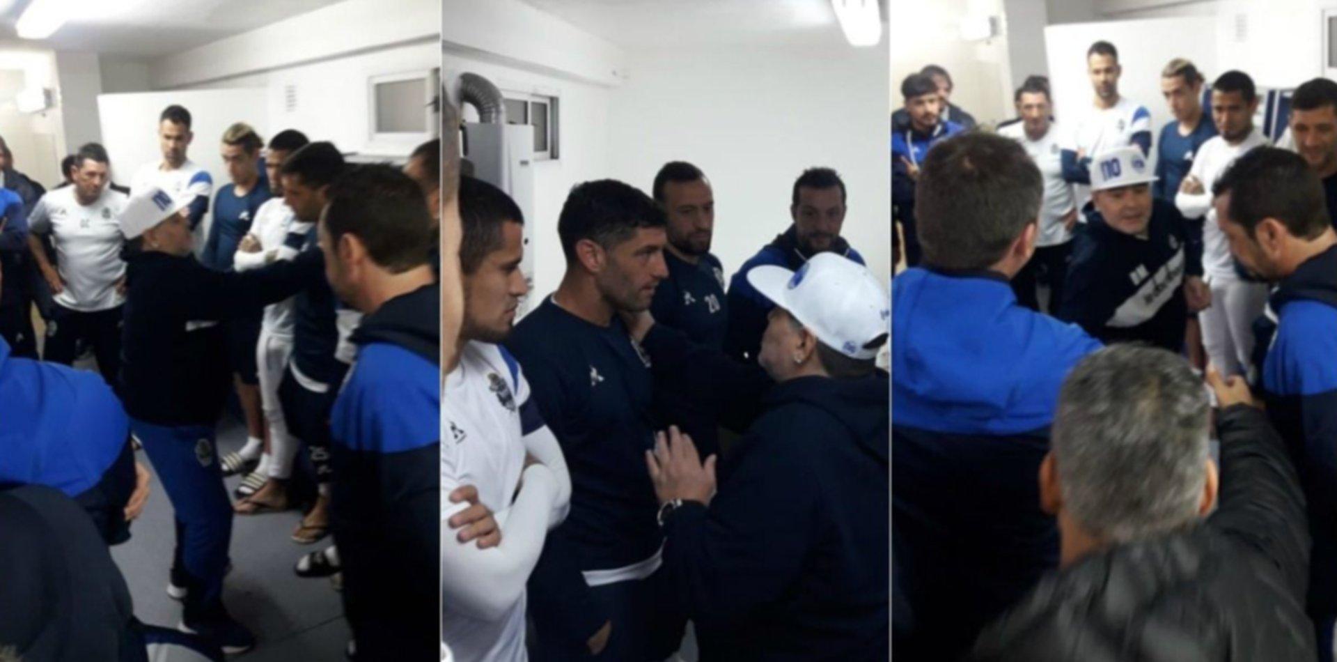 Charla en el vestuario: así fue el primer contacto de Maradona con los jugadores de Gimnasia
