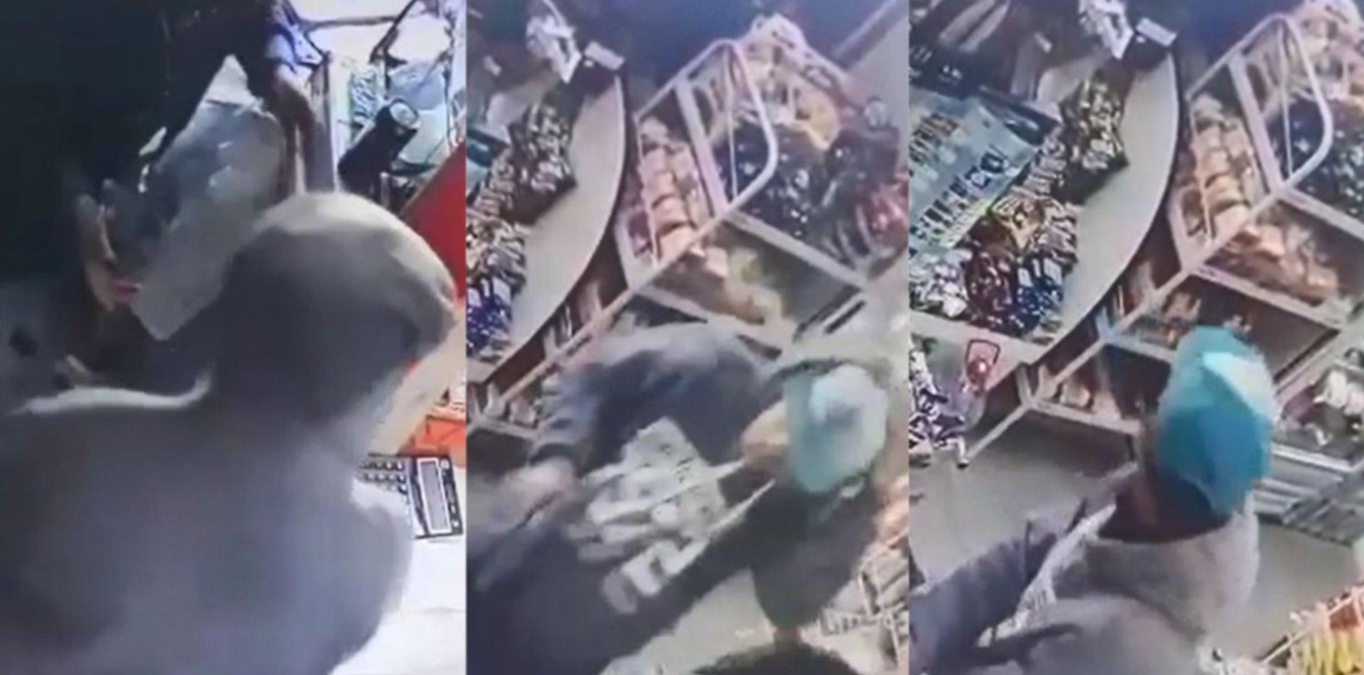 VIDEO: Simularon ser clientes para robar un almacén de Los Hornos