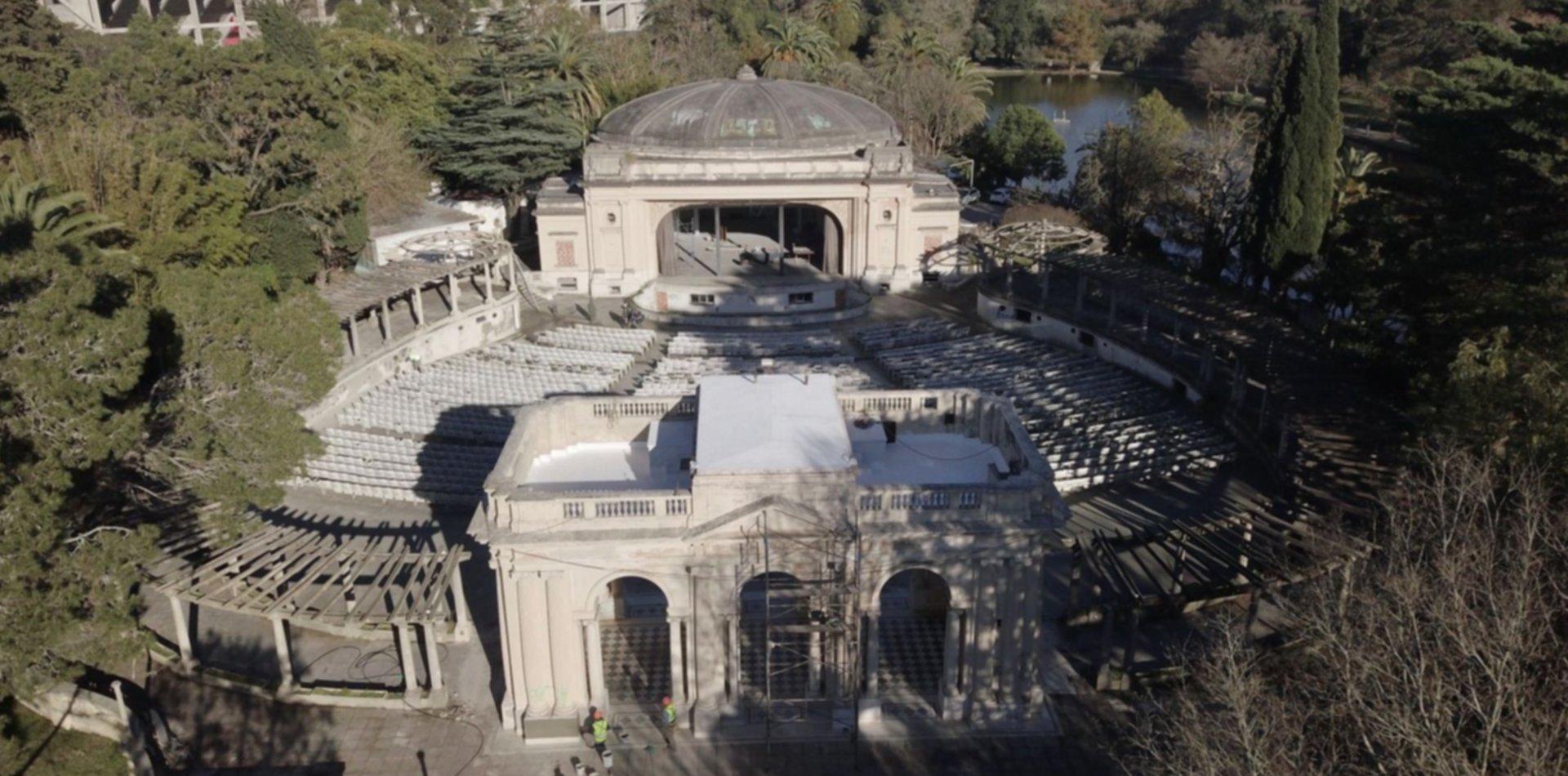 Así se ve desde el aire el avance de las históricas obras en el Teatro del Lago