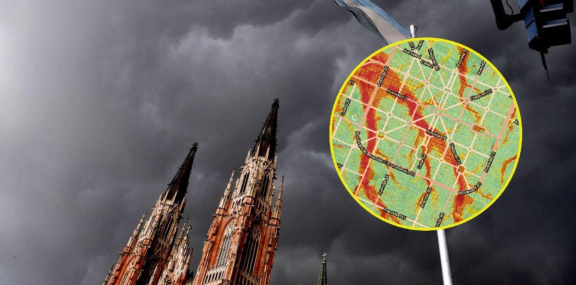 Alerta por tormentas fuertes durante el Encuentro: los mapas de riesgo hídrico en La Plata