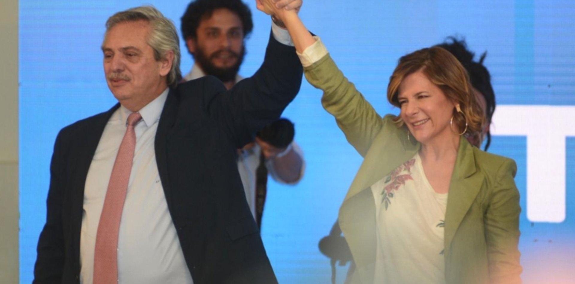 Alberto Fernández y Florencia Saintout, juntos en la UNLP