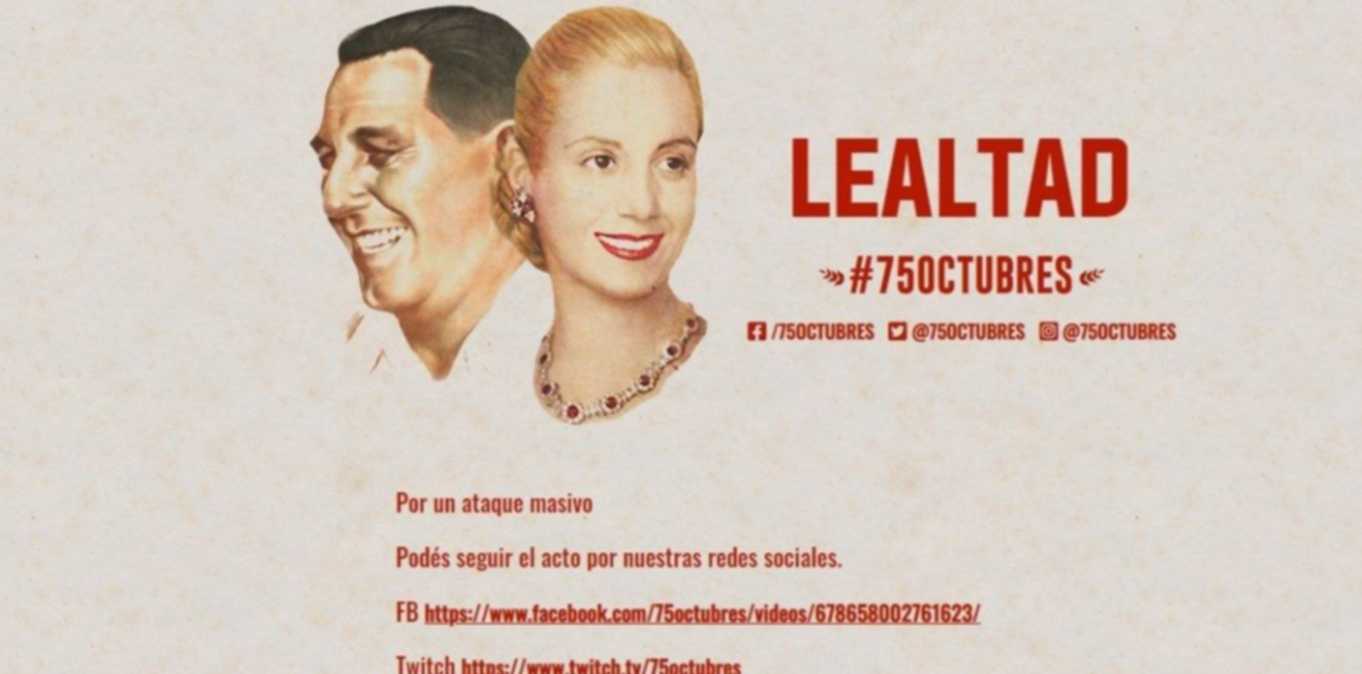 Se cayó el servidor de la marcha virtual por el Día de la Lealtad y denuncian hackeo
