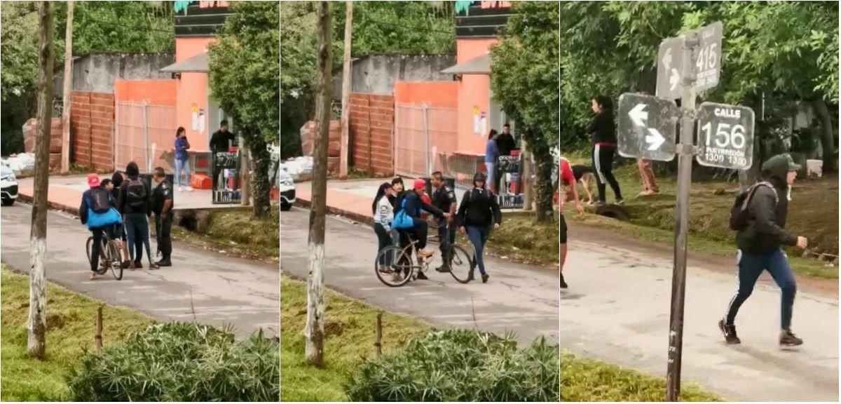 Filmaron a un policía dejando escapar a los chicos que robaron un supermercado platense