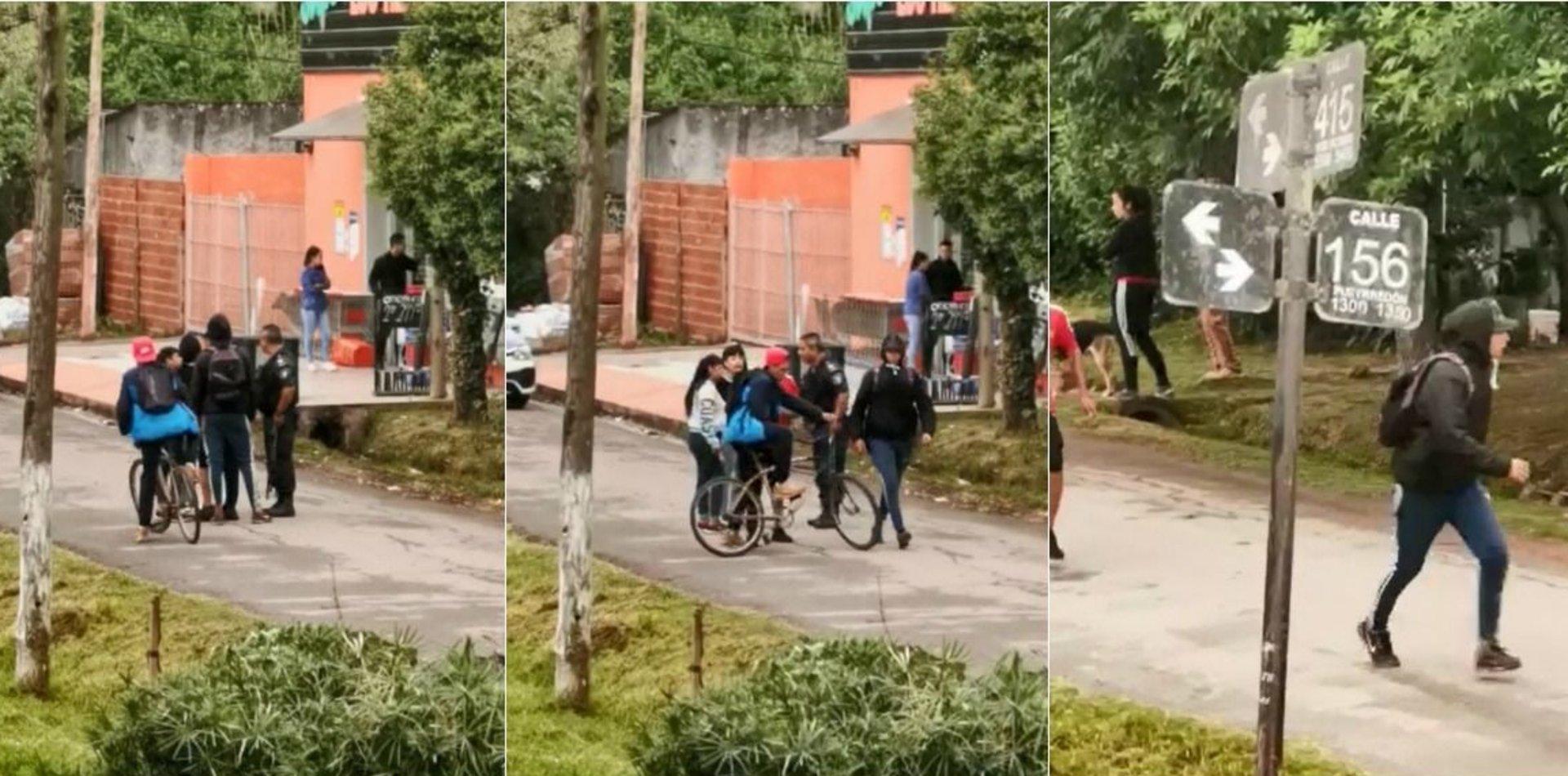Filmaron a un policía dejando escapar a los chicos que robaron un supermercado de La Plata
