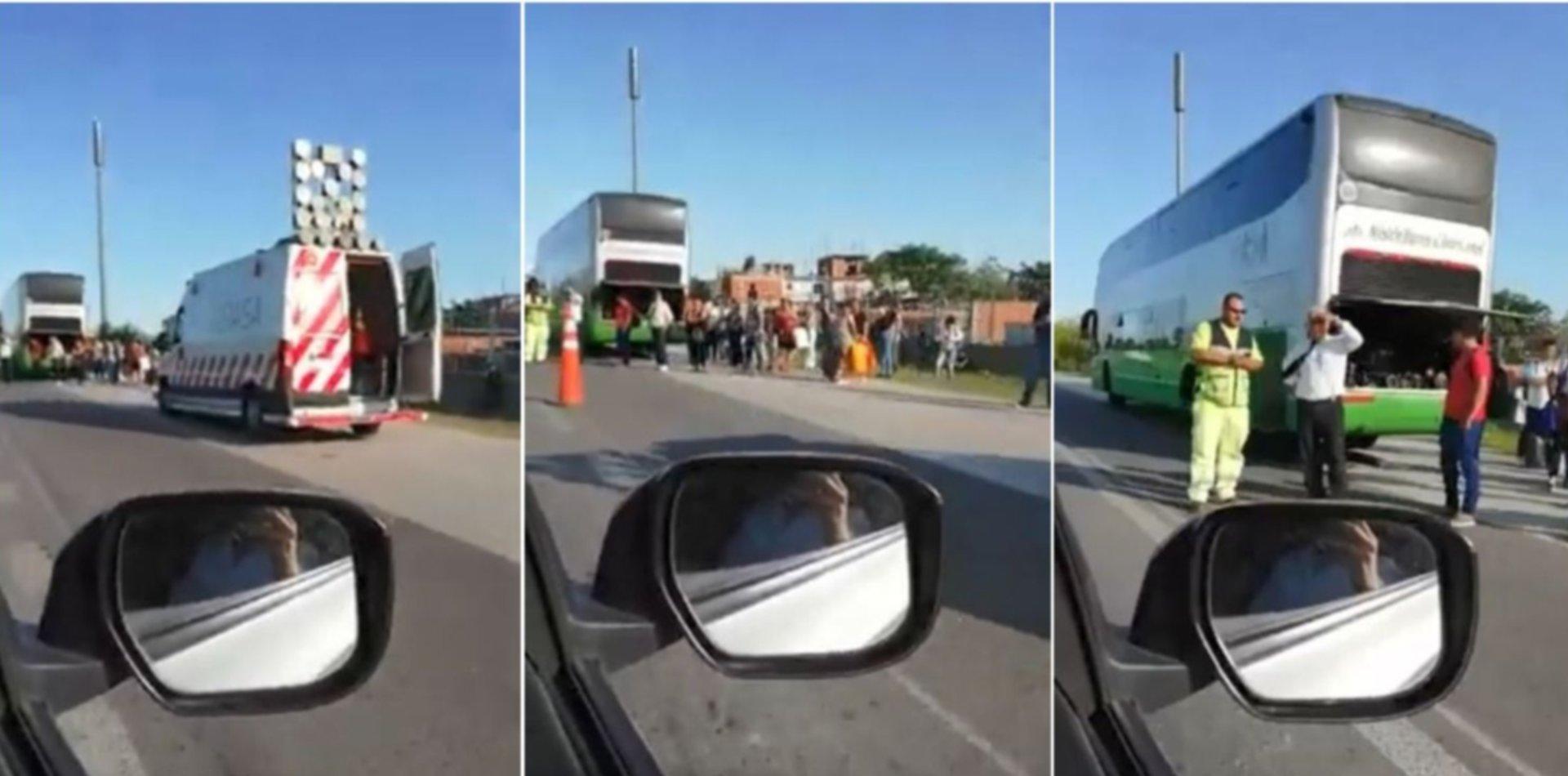 VIDEO: Un micro del exPlaza dejó varados a decenas de vecinos en plena Autopista La Plata-Buenos Aires