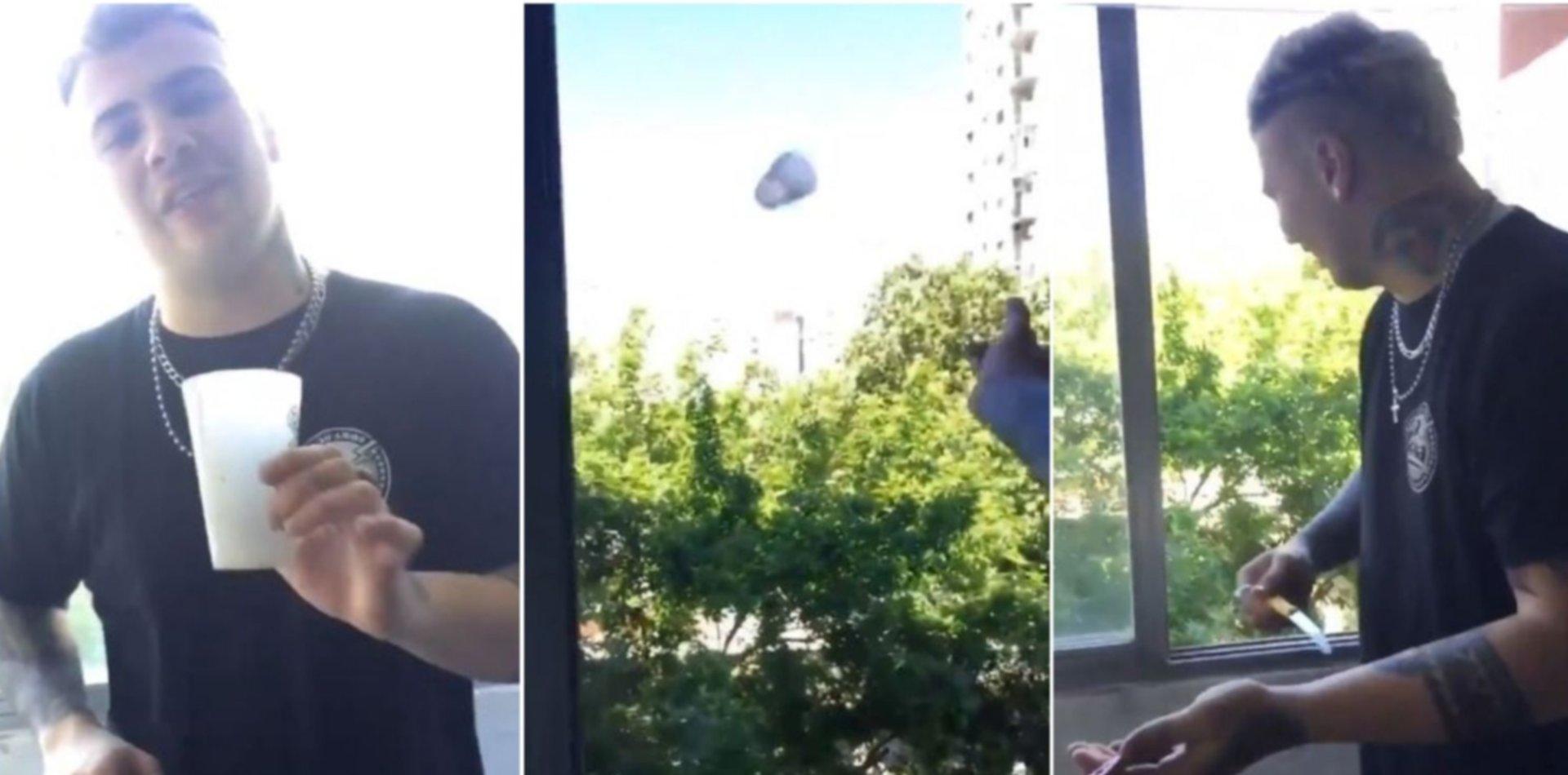 VIDEO: Un influencer se grabó tirando cuchillos desde un balcón en La Plata